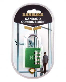 Candado Handlock  aluminio combinación  40mm 4dígitos verde