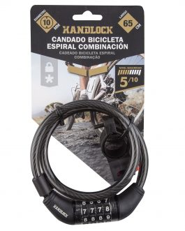 Candado Handlock para bicicleta espiral combinación  10 mm. x 65 cm. color negro