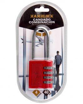 Candado combinación Rojo Handlock 4 números arco largo