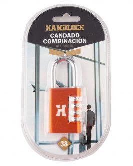 Candado Handlock  aluminio combinación  28 mm. 4 dígitos naranja