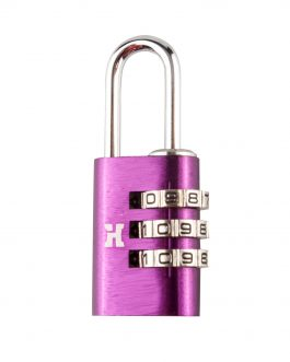Candado Handlock  aluminio combinación  21 mm. 3 dígitos lila
