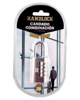Candado Handlock  aluminio combinación  28 mm. 4 dígitos plata