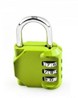 Candado Handlock combinación de 3 rodillos de 10 dígitos verde 30 mm.