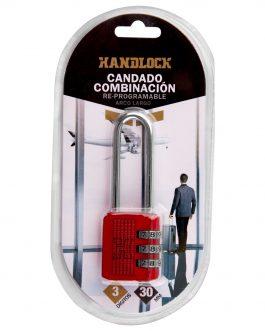 Candado combinación Rojo Handlock 3 números arco largo