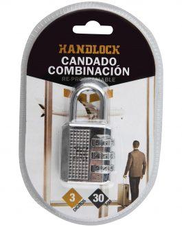 Candado Handlock  niquel  combinación 3 dígitos 30 mm