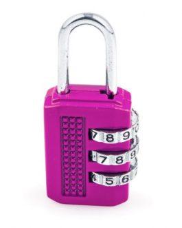 Candado Handlock combinación de 3 rodillos de 10 dígitos lila 25 mm.