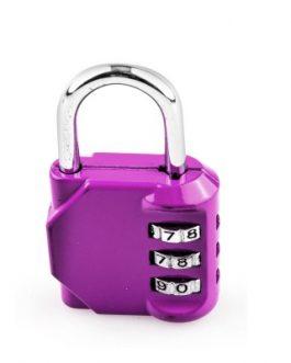 Candado Handlock combinación de 3 rodillos de 10 dígitos lila 30 mm.