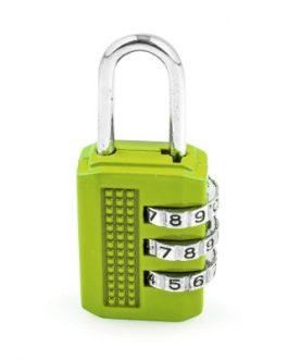 Candado Handlock combinación de 3 rodillos de 10 dígitos verde 25 mm.