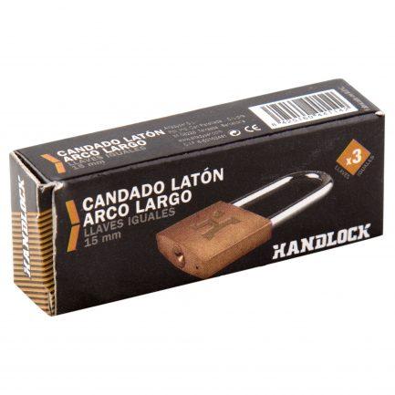 Candado Latón Handlock Arco Largo Llaves iguales 15 mm.