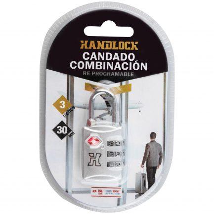 Candado Combinación Handlock TSA 3 números 30 mm. plata